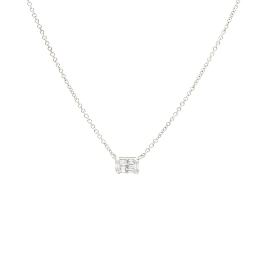 Mini Diamond Baguette Necklace White Gold