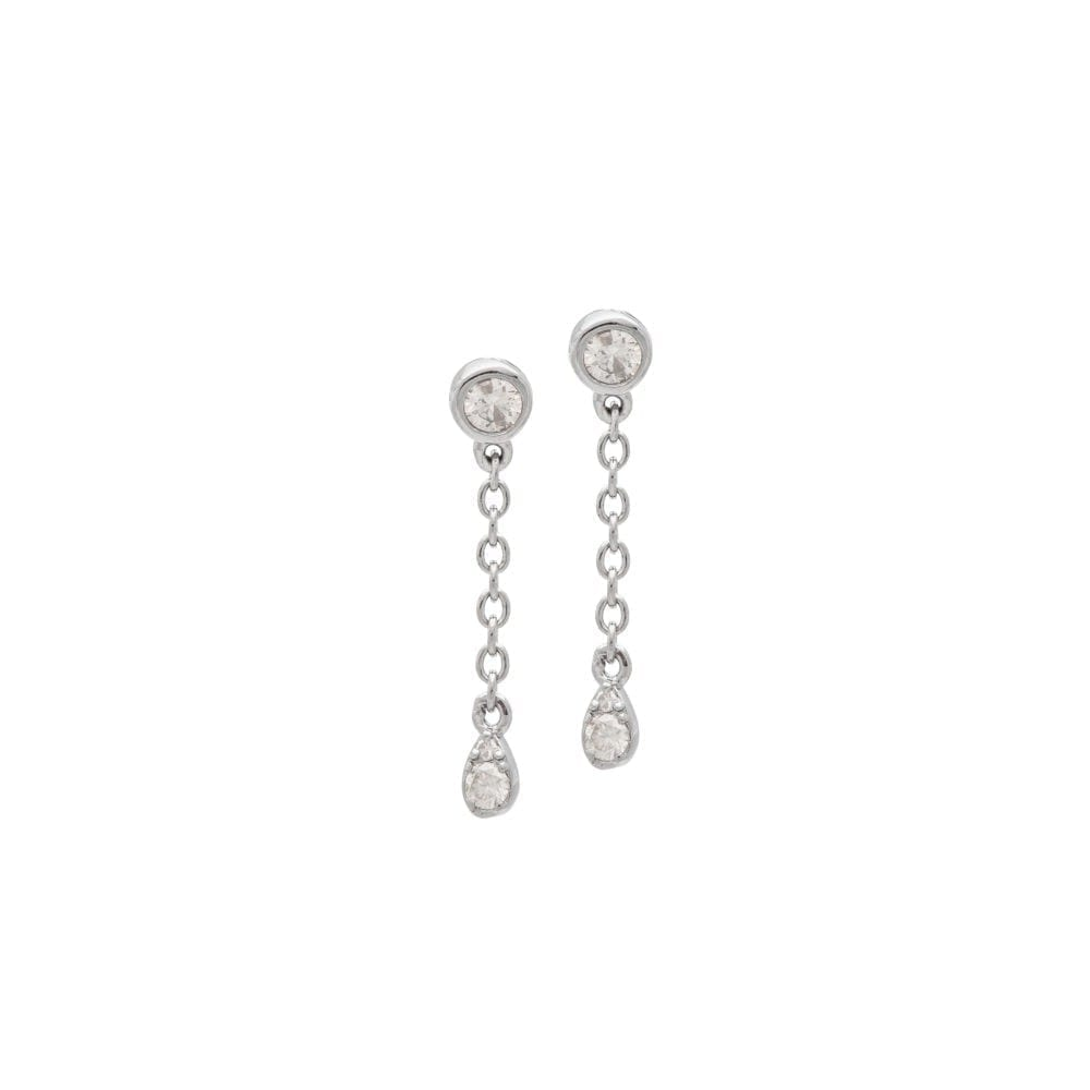 Mini Diamond Bezel Chain Drop Earrings Sterling Silver
