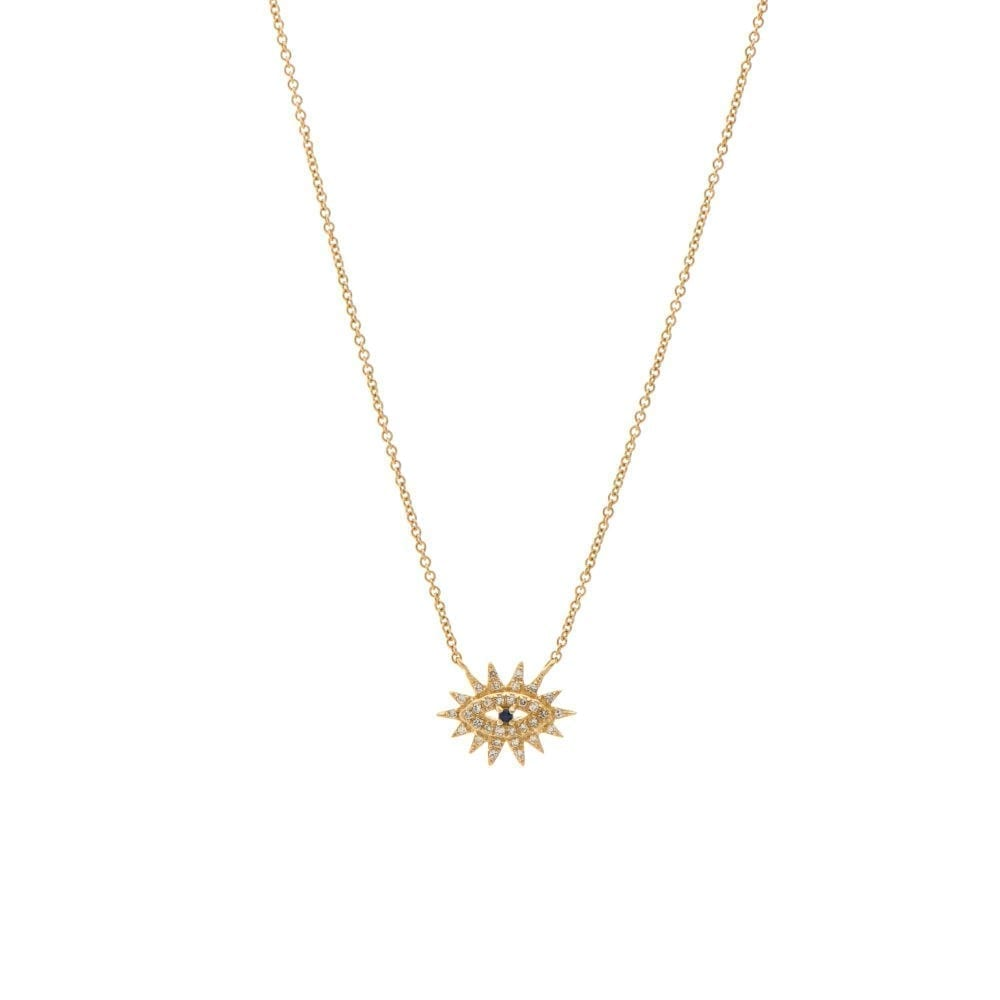 Mini Diamond Evil Eyelash Necklace 14k Yellow Gold