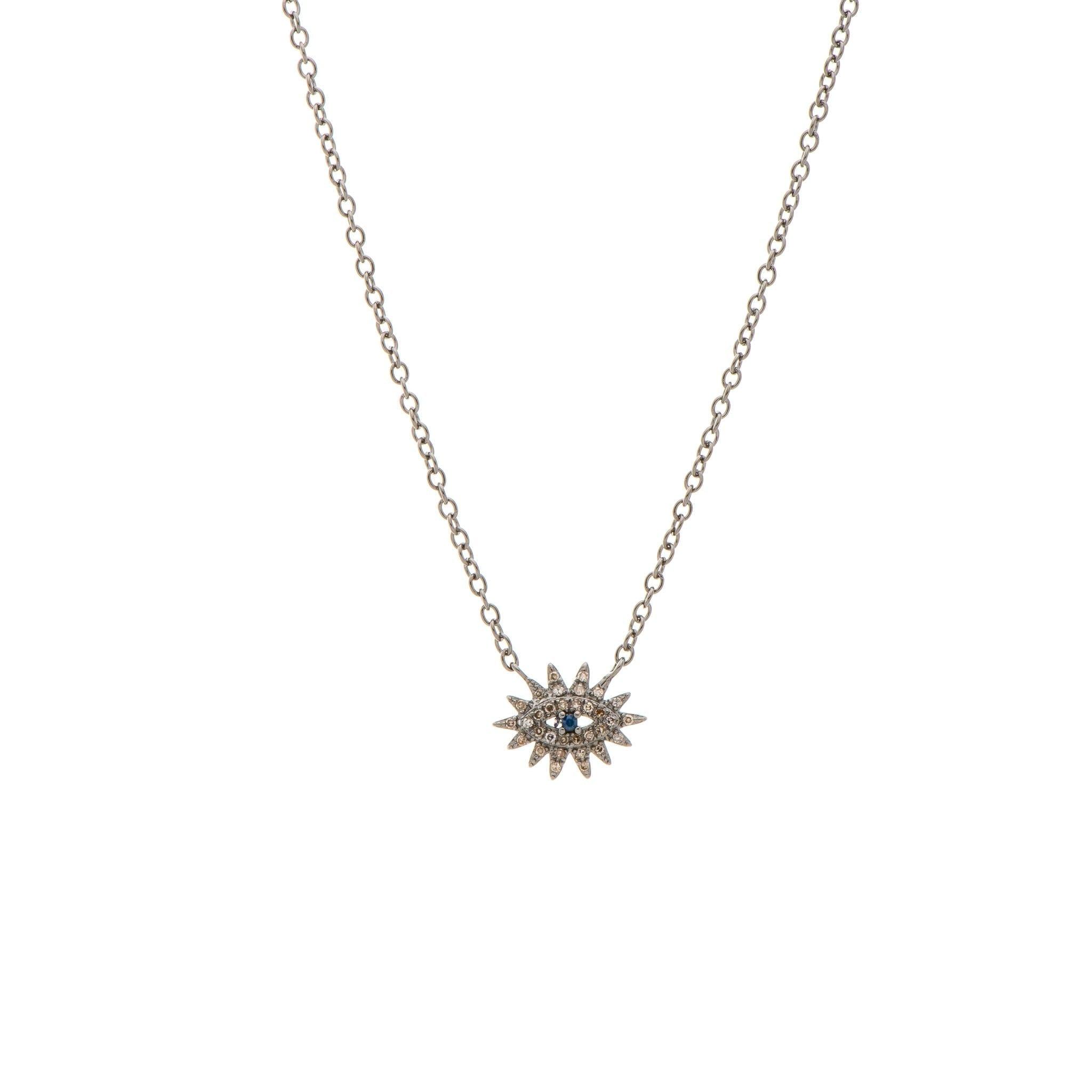 Mini Diamond Evil Eyelash Necklace Sterling Silver