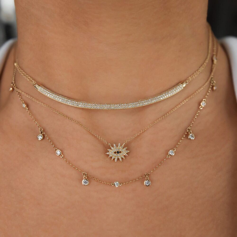 Mini Diamond Evil Eyelash Necklace