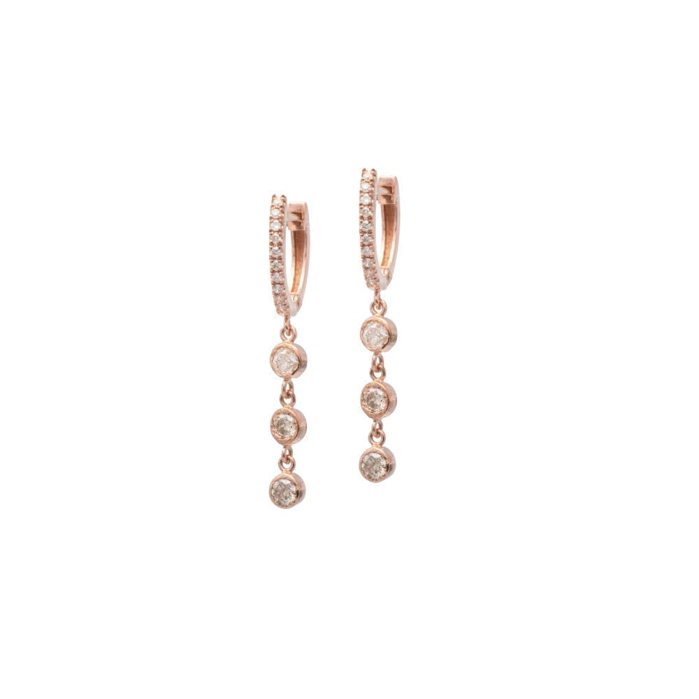 Mini Diamond Huggie with Triple Diamond Dangles Rose Gold