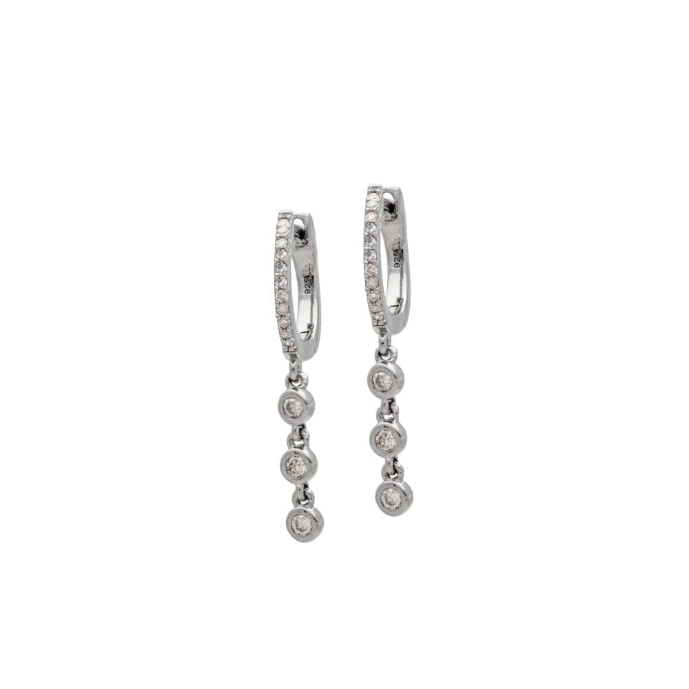 Mini Diamond Huggie with Triple Diamond Dangles Sterling Silver