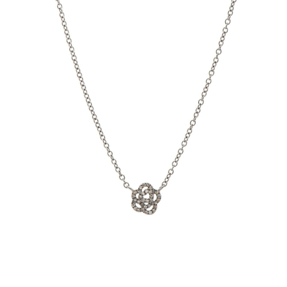 Mini Diamond Rose Necklace Sterling Silver