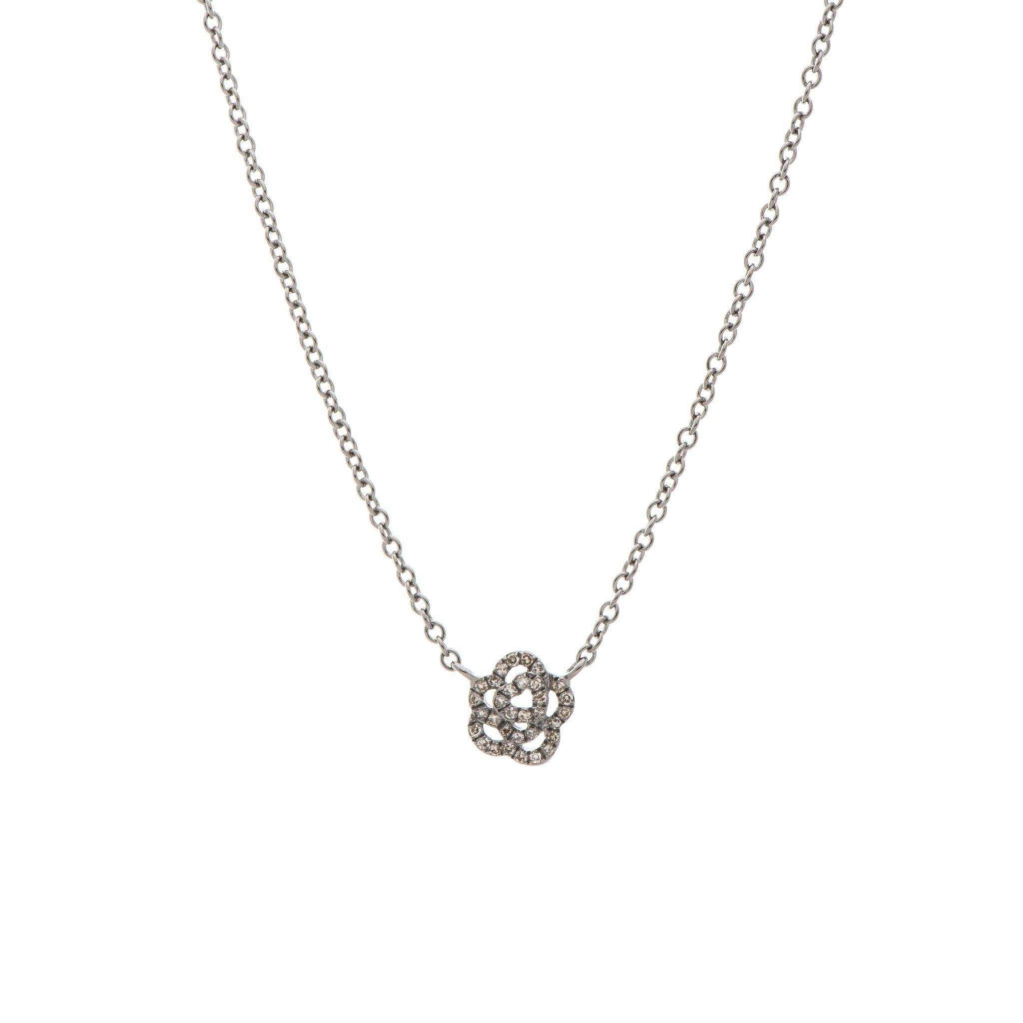 Mini Diamond Rose Necklace Sterling Silver