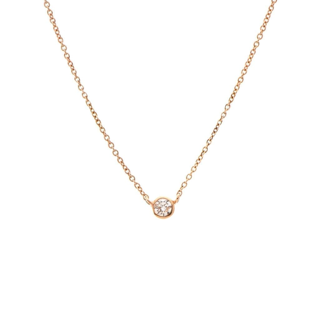 Mini Diamond Solitaire Necklace 14k Rose Gold