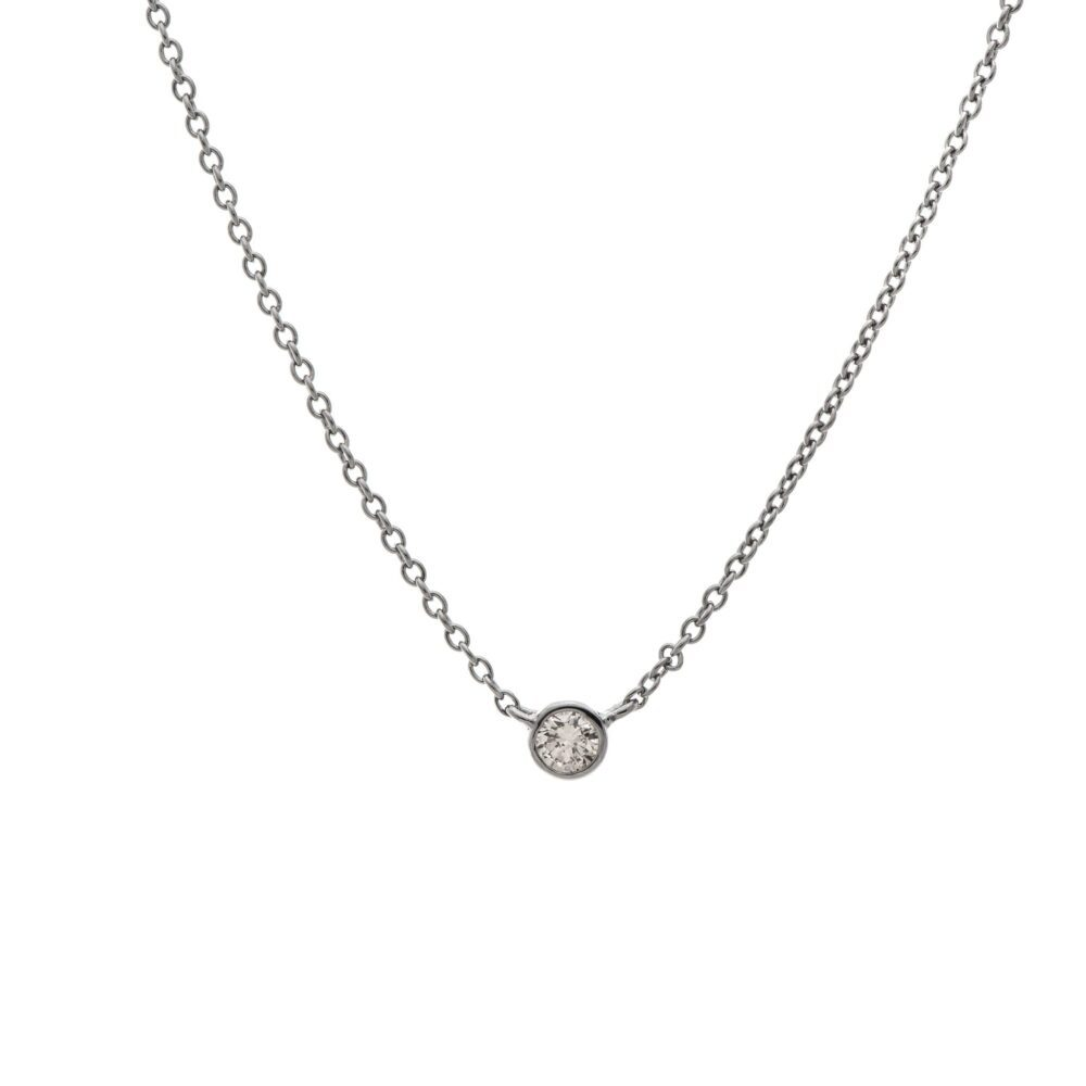 Mini Diamond Solitaire Necklace Sterling Silver