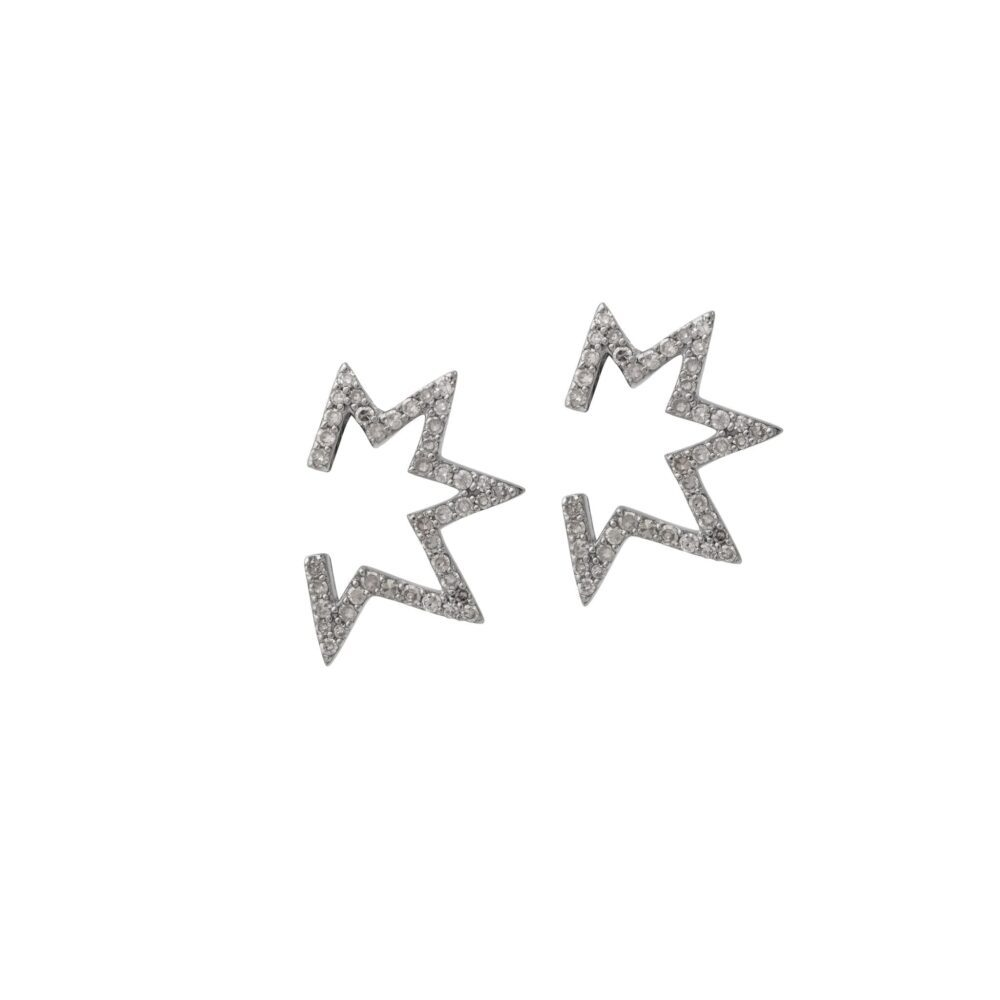 Mini Open Mod Diamond Star Earrings Sterling Silver
