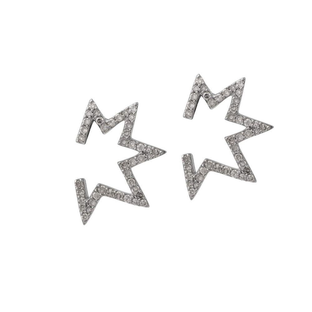 Open Mod Diamond Star Earrings Sterling Silver