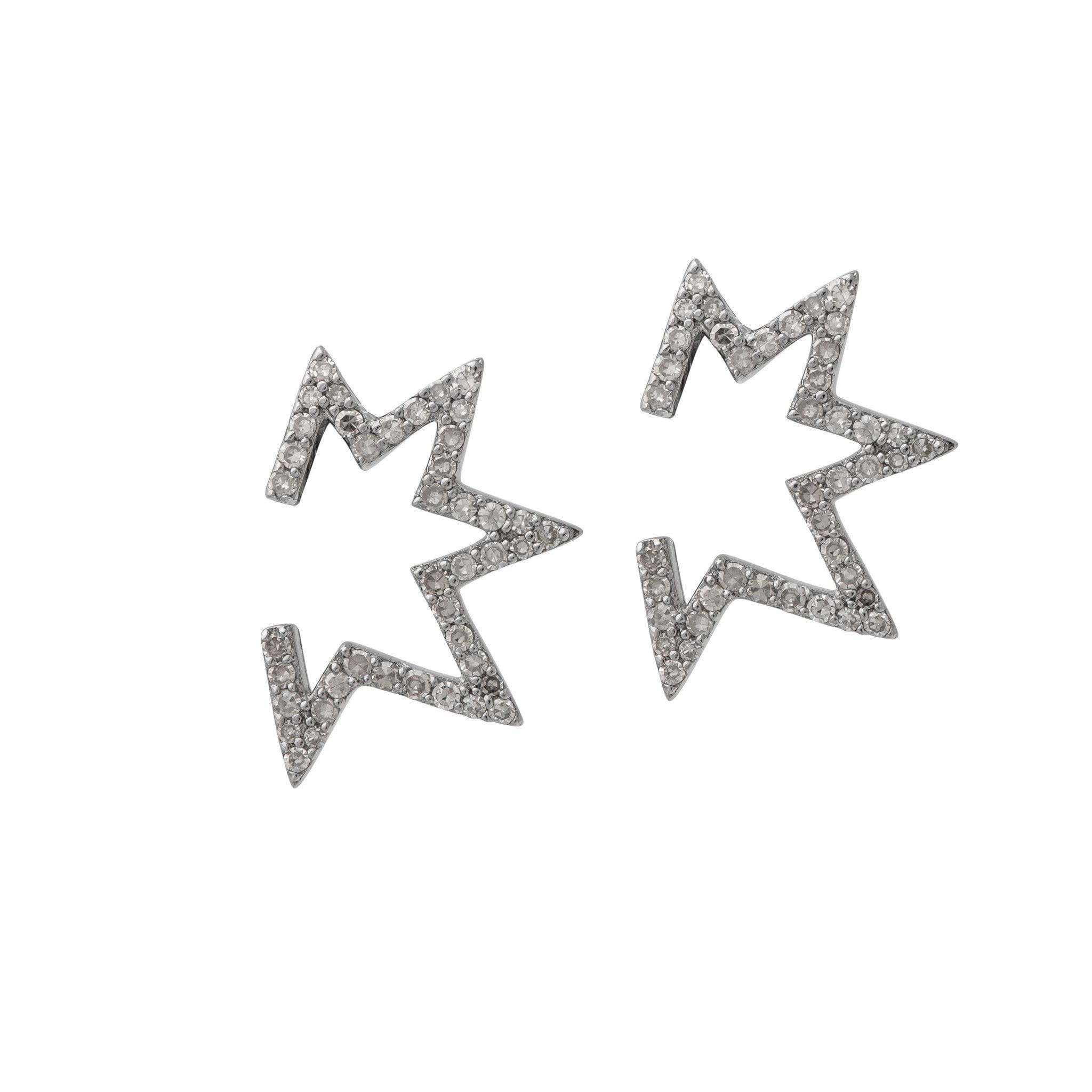 Open Mod Diamond Star Earrings Sterling Silver