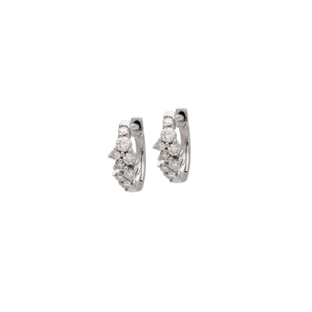 Petite Multi Diamond Huggies Sterling Silver