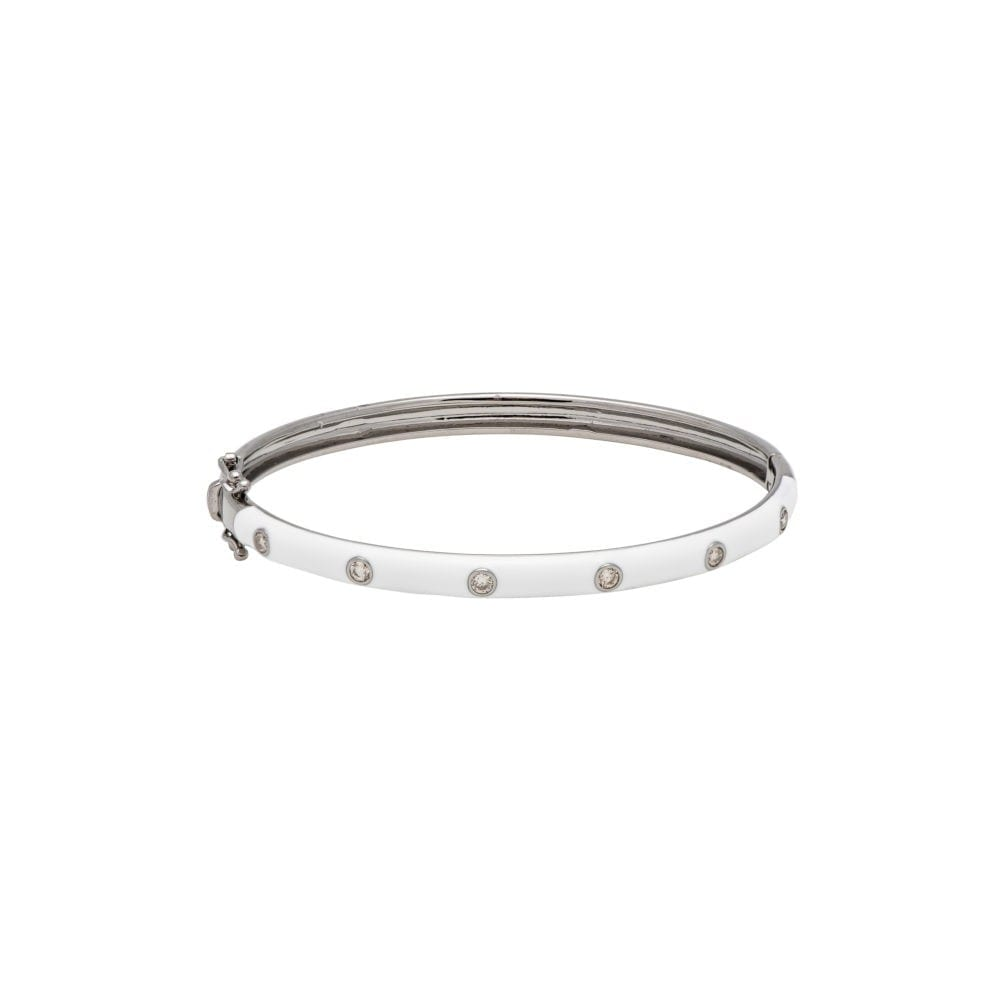 Skinny White Enamel Diamond Bangle