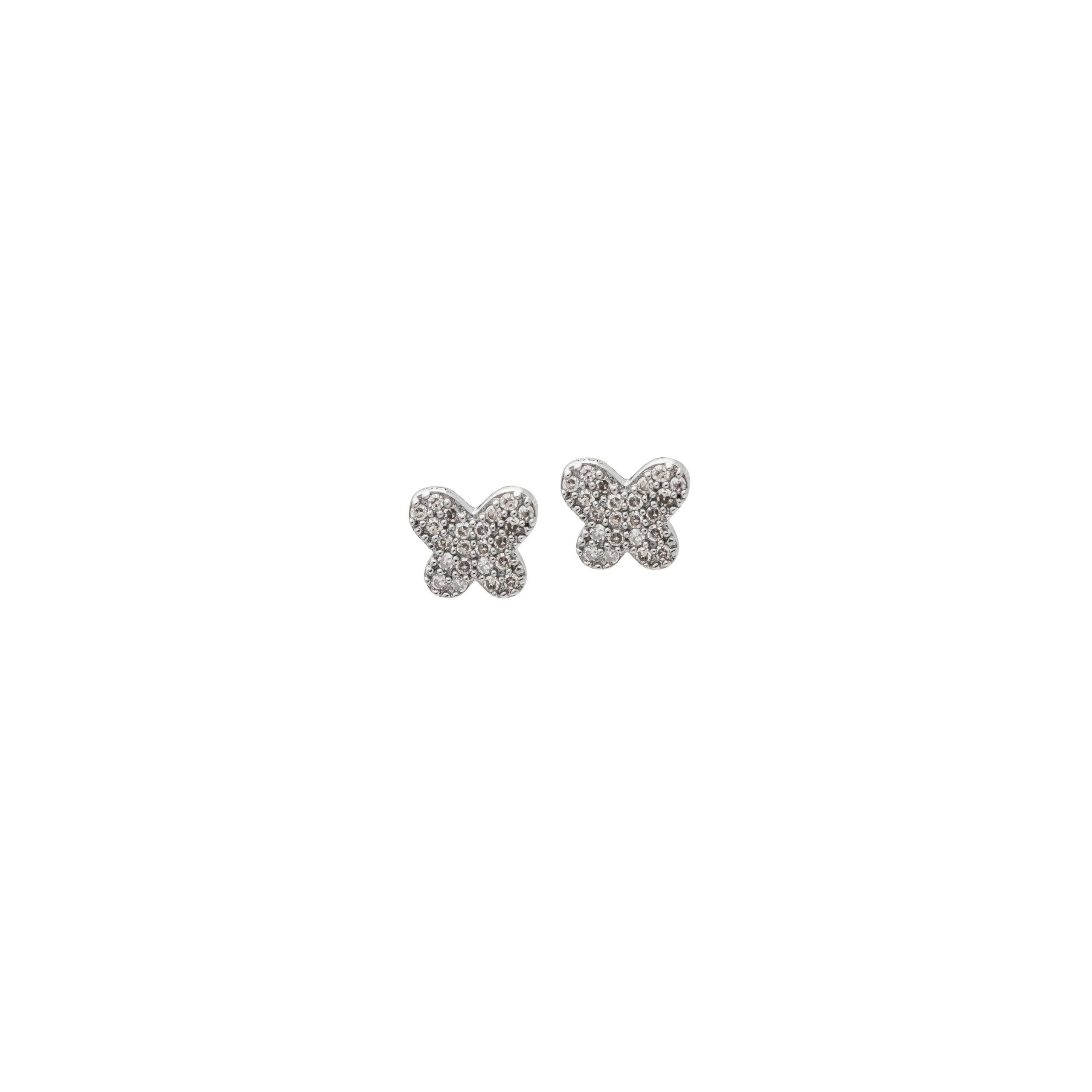 Tiny Pave Butterfly Studs Sterling Silver