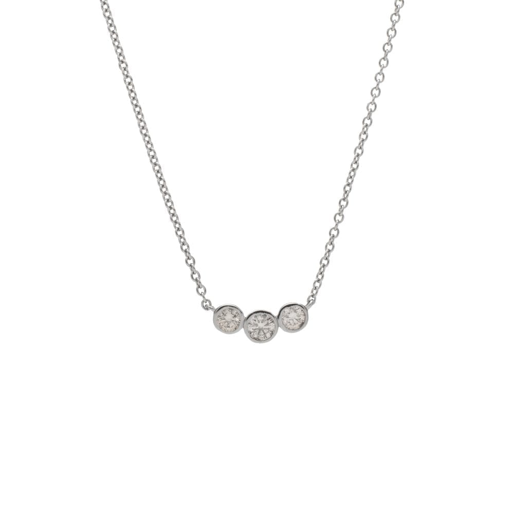 3 Diamond Bezel Set Diamond Necklace Sterling Silver