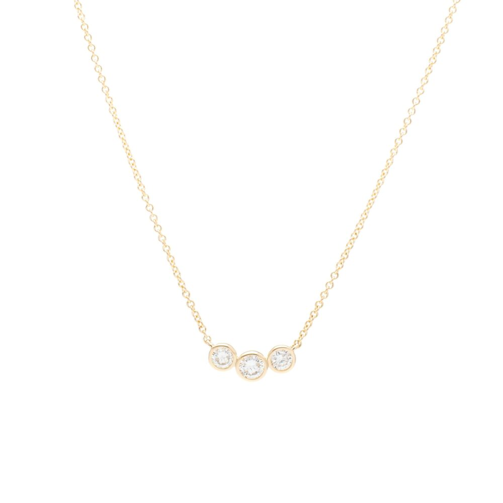 3 Diamond Bezel Set Necklace 14k Yellow Gold