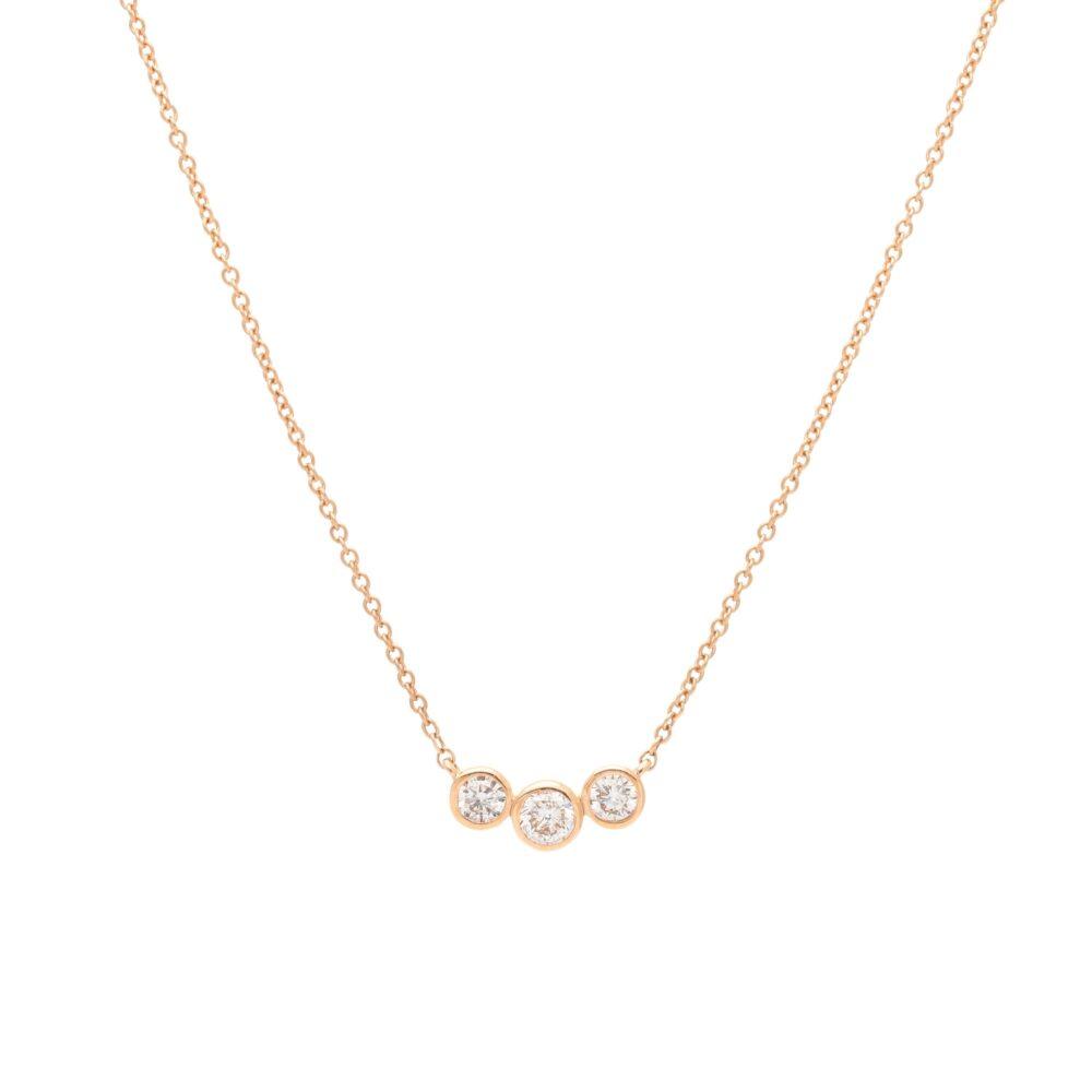 3 Diamond Bezel Set Necklace Rose Gold