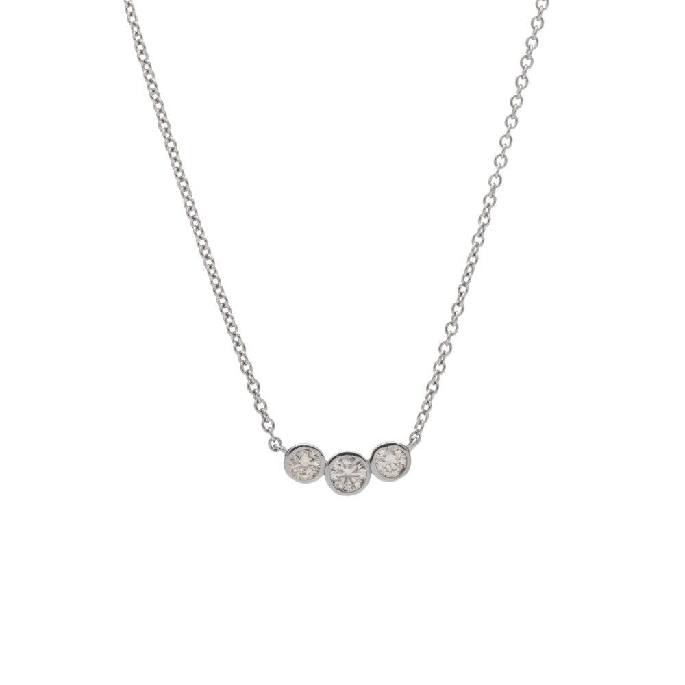 3 Diamond Bezel Set Necklace Sterling Silver