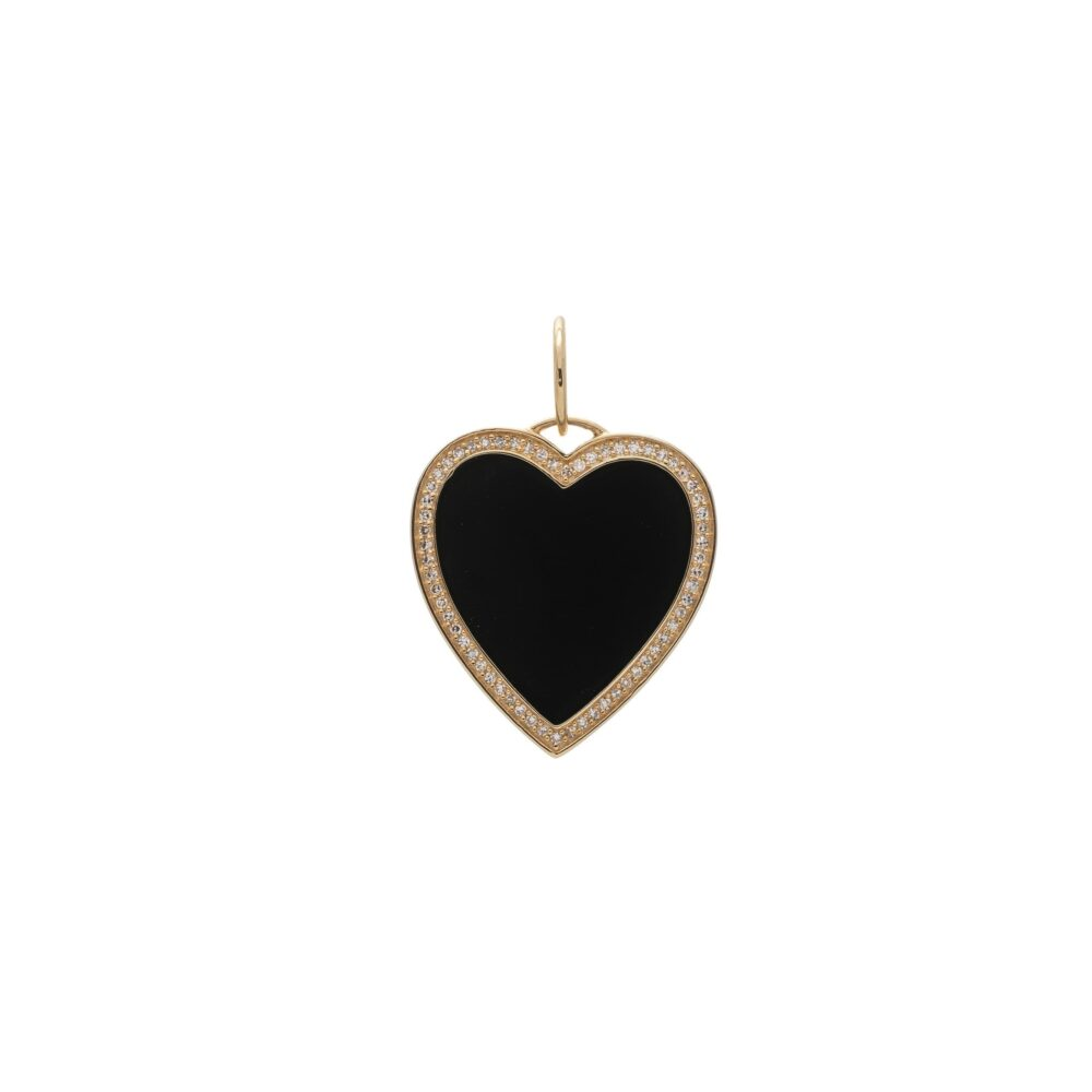 Black Enamel Diamond Heart Charm Yellow Gold