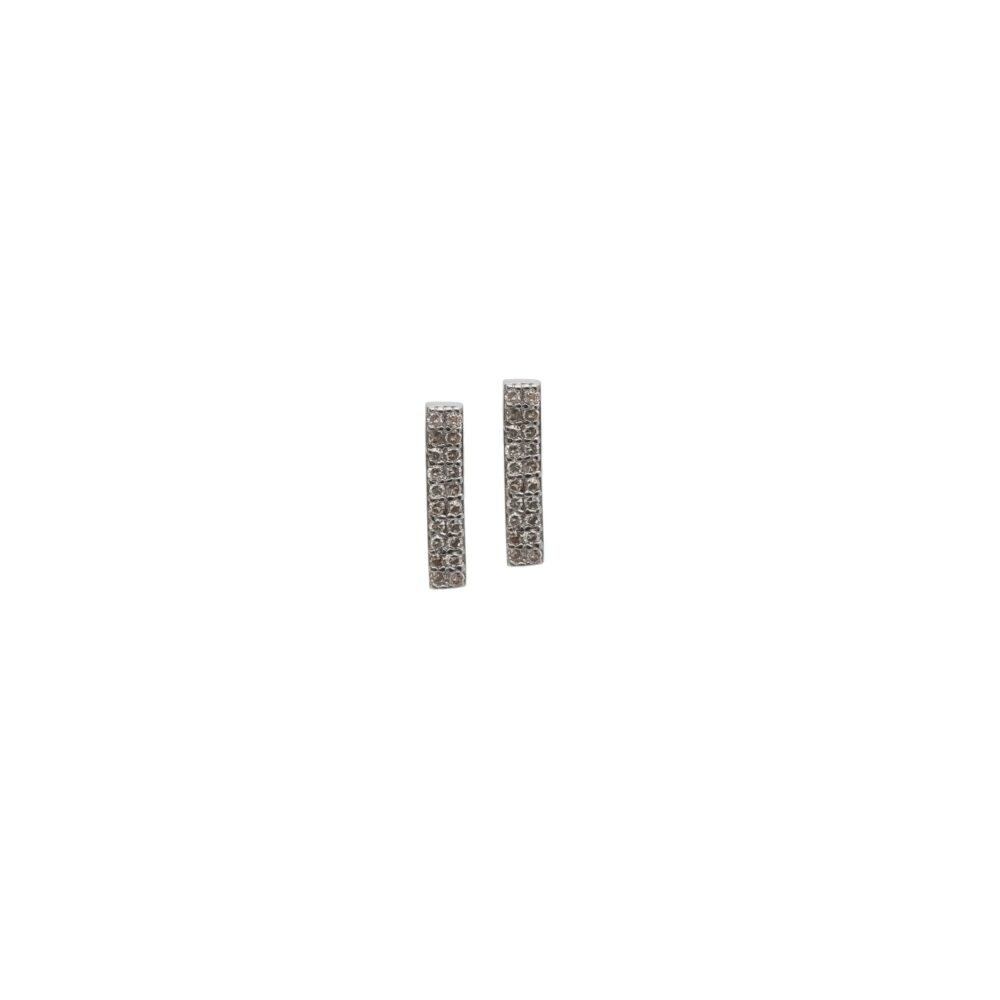 Diamond Bar Earrings Sterling Silver