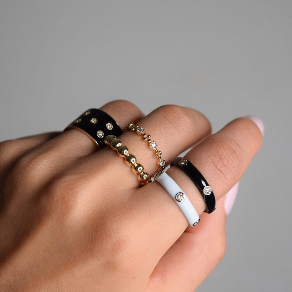 Diamond Black Enamel Band