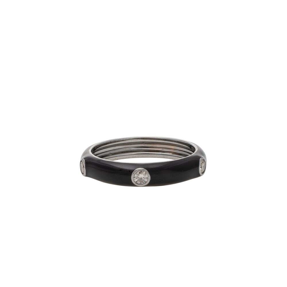 Diamond Black Enamel Band Silver