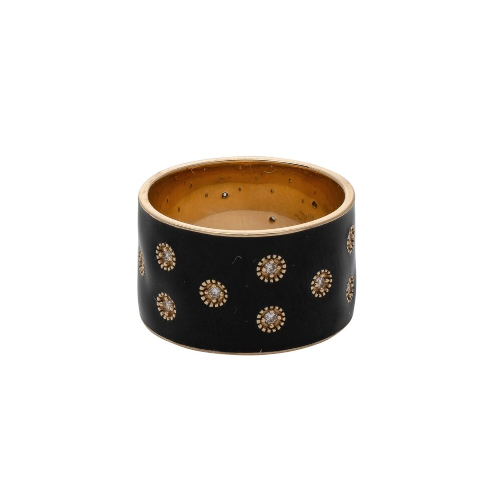 Diamond Black Enamel Eternity Band Gold
