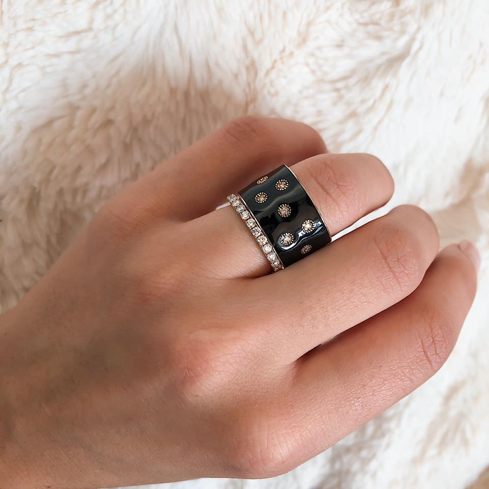 Diamond Black Enamel Eternity Band