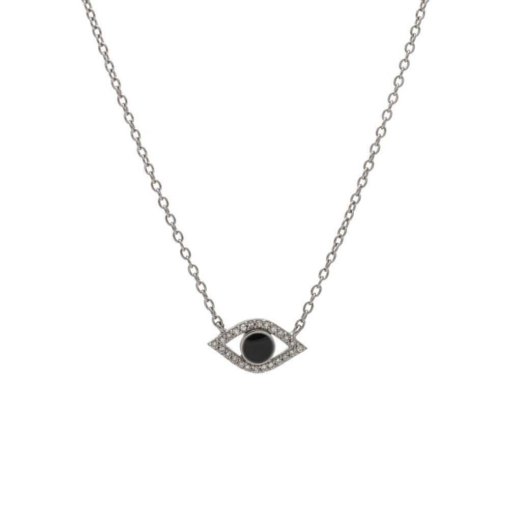 Diamond + Black Enamel Evil Eye Necklace