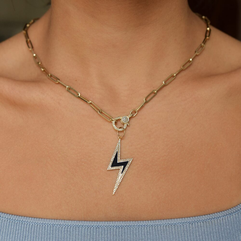 Diamond Black Enamel Lightning Bolt Pendant