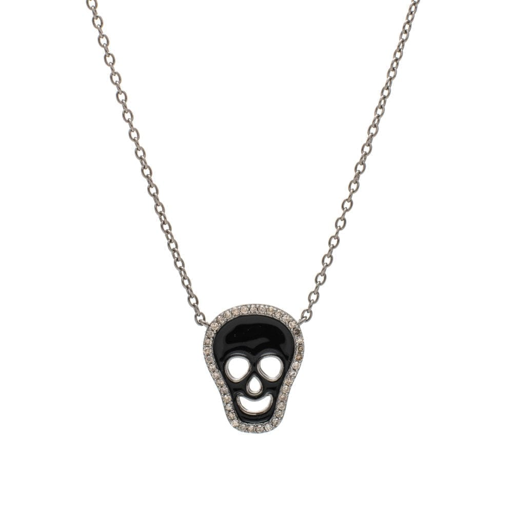 Diamond Black Enamel Skull Necklace