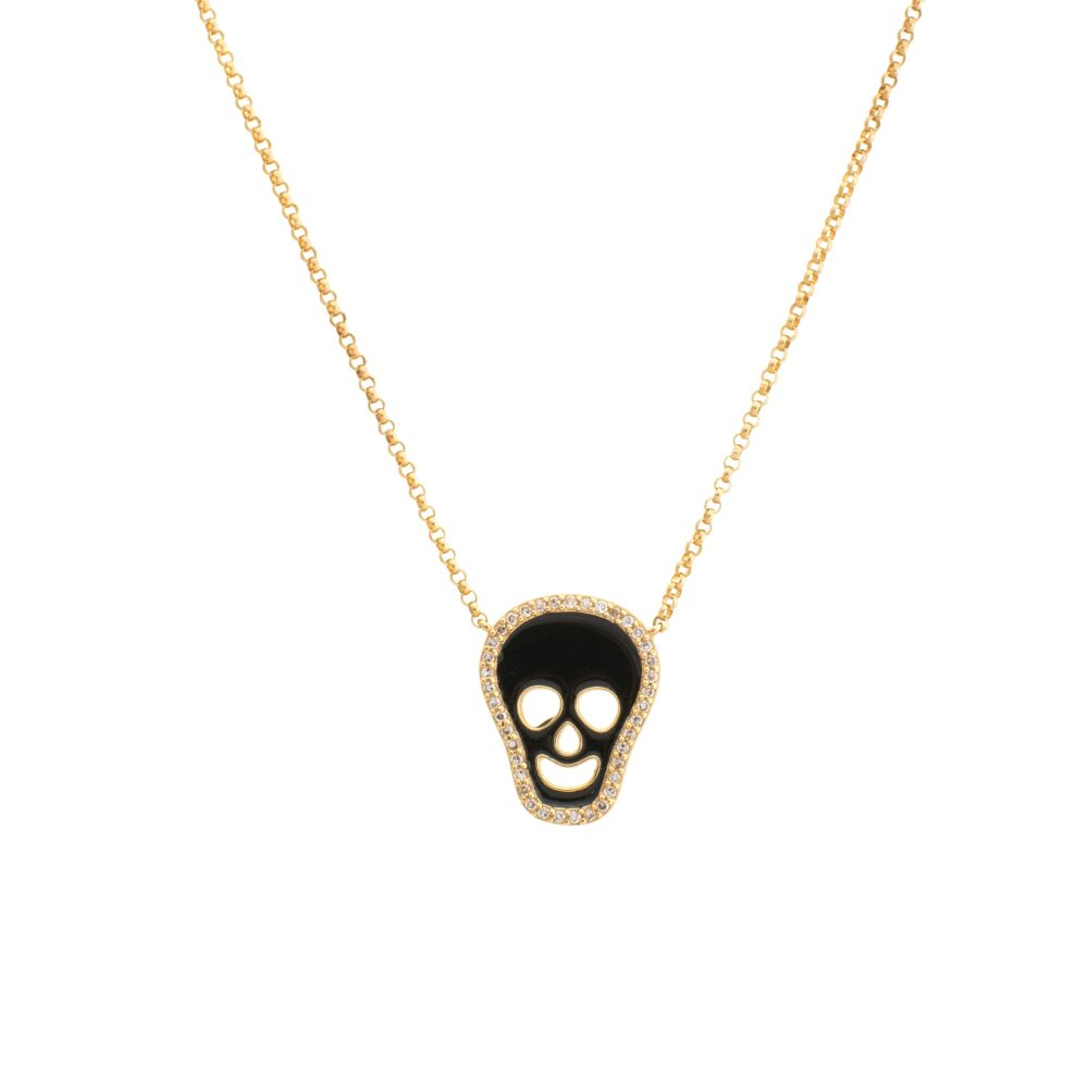 Diamond + Black Enamel Skull Necklace Yellow Gold