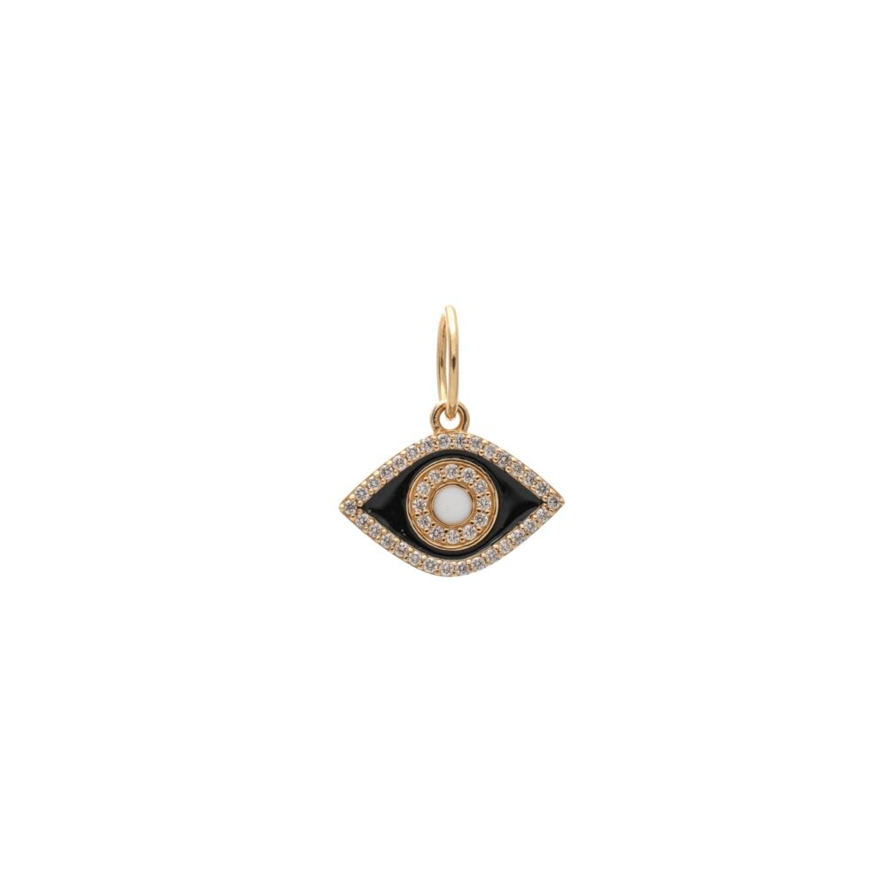 Diamond + Black with White Enamel Evil Eye Good Luck Charm Yellow Gold