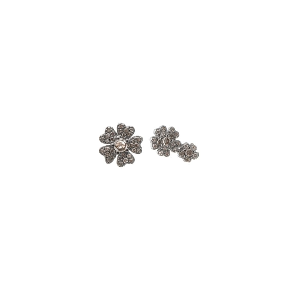 Diamond Double Flower Earrings