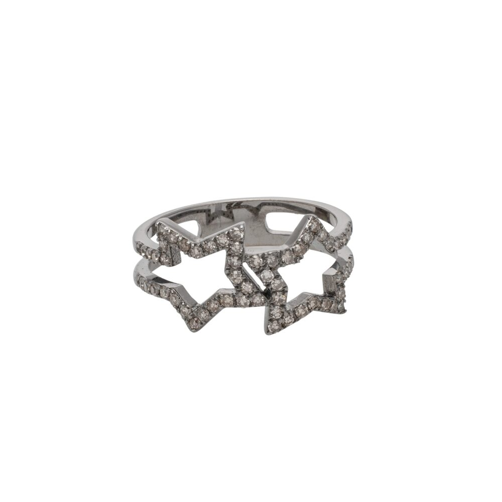 Diamond Double Open Star Ring Silver
