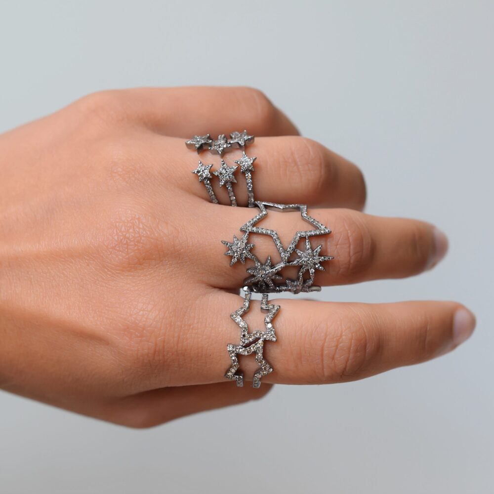 Diamond Double Star Ring