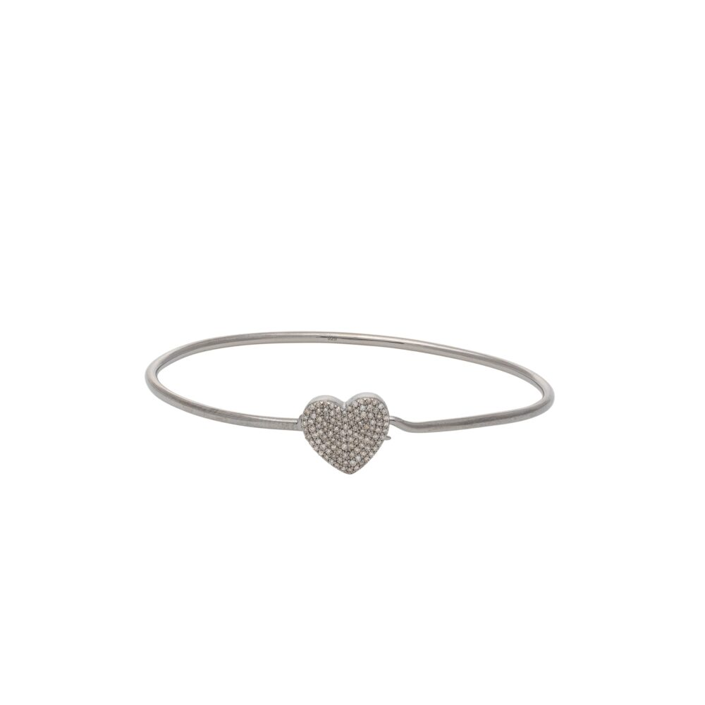 Diamond Heart Wire Bracelet Sterling Silver