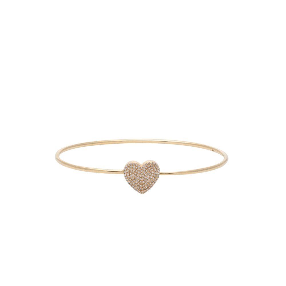 Diamond Heart Wire Bracelet Yellow Gold