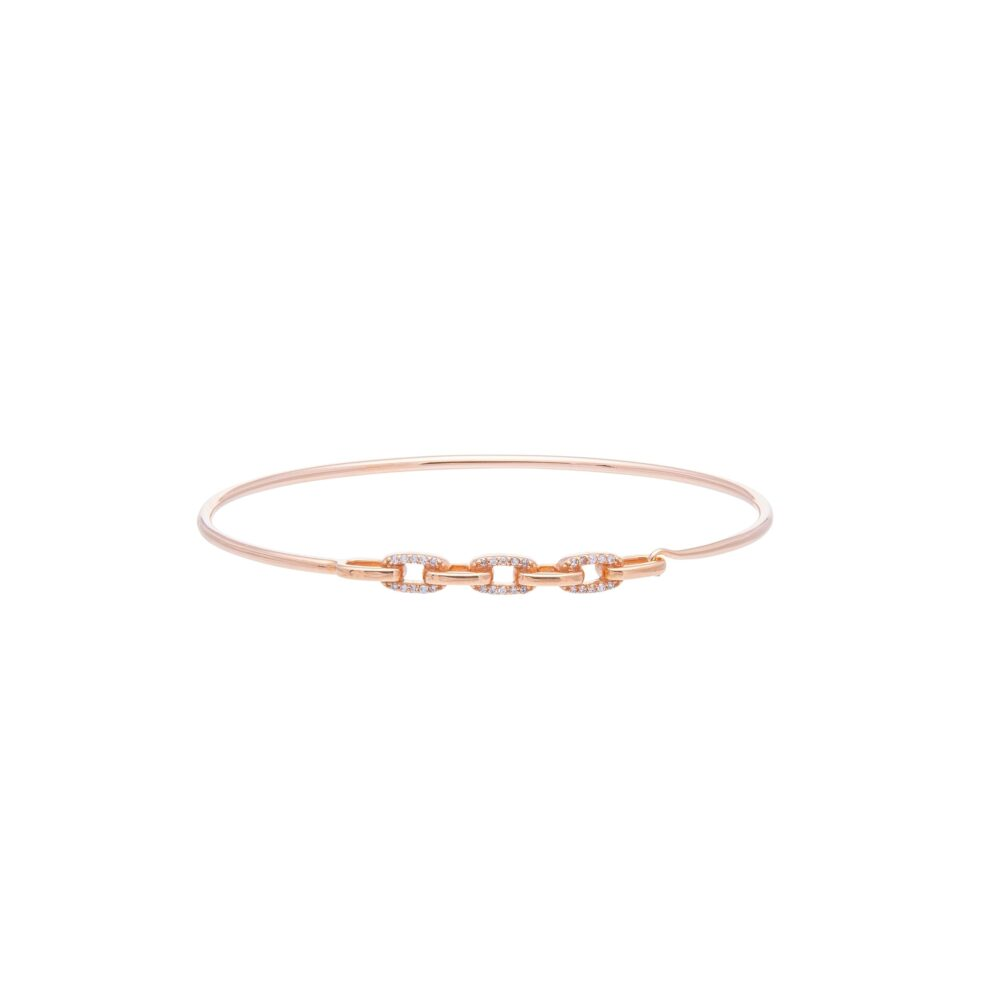 Diamond Link Wire Bracelet Rose Gold
