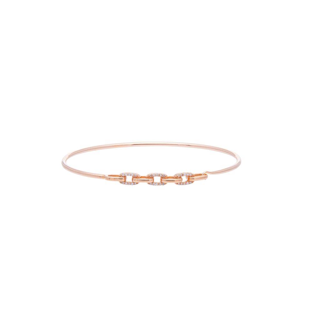 Diamond Link Wire Bracelet Rose Gold