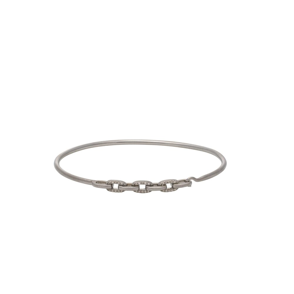 Diamond Link Wire Bracelet Sterling Silver
