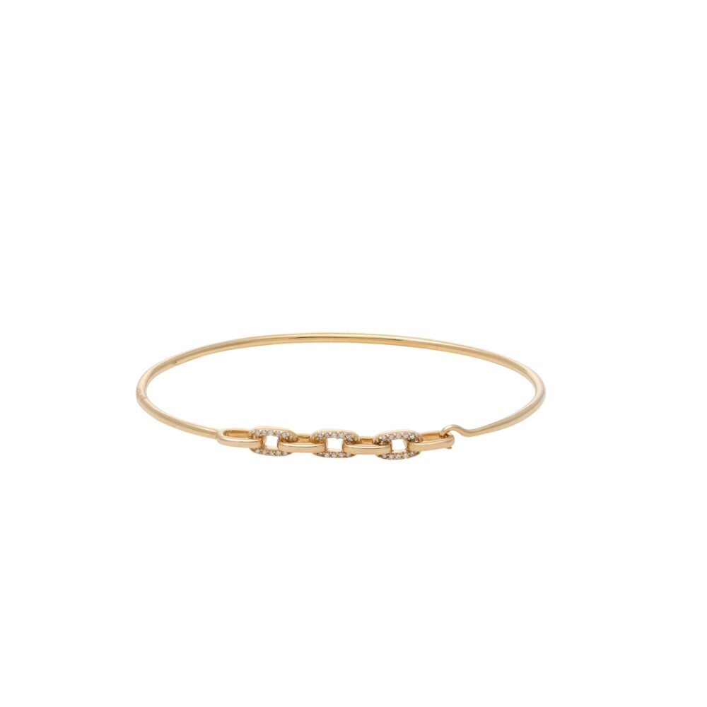 Diamond Link Wire Bracelet Yellow Gold