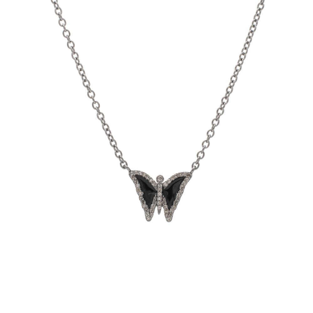 Diamond Mini Black Enamel Butterfly Necklace Sterling Silver