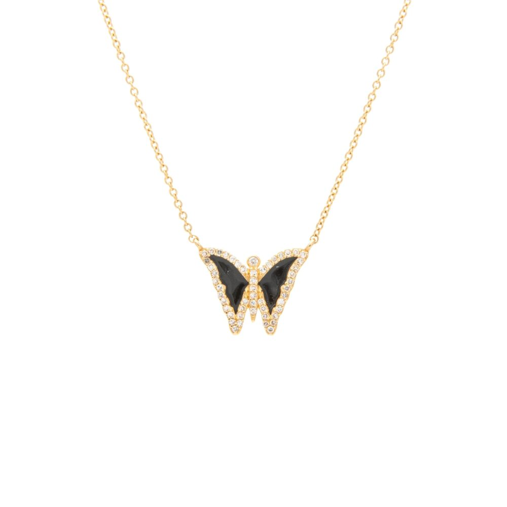 Diamond Mini Black Enamel Butterfly Necklace Yellow Gold
