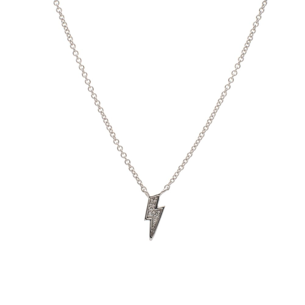 Diamond Mini Lightning Bolt Necklace Sterling Silver