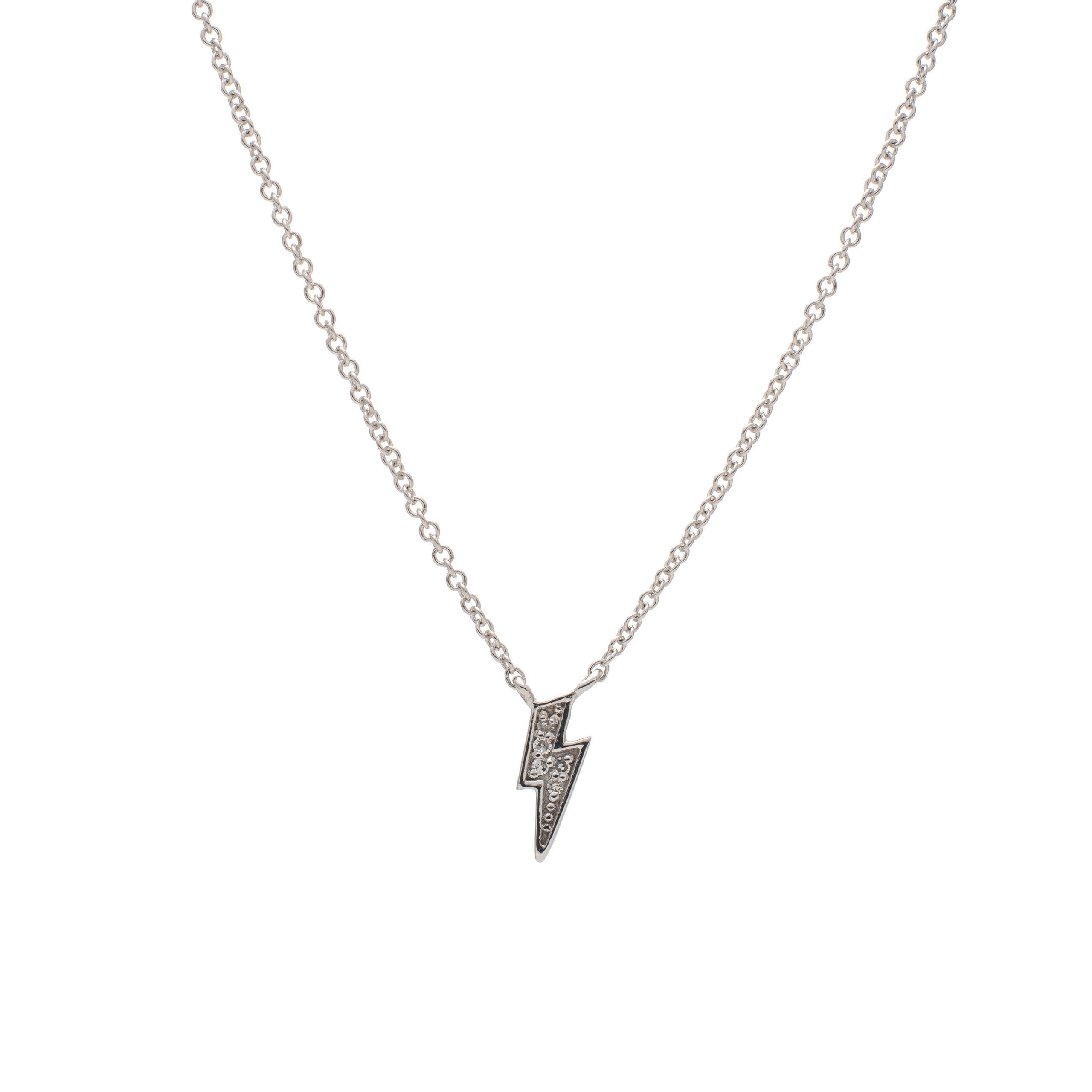 Diamond Mini Lightning Bolt Necklace Sterling Silver