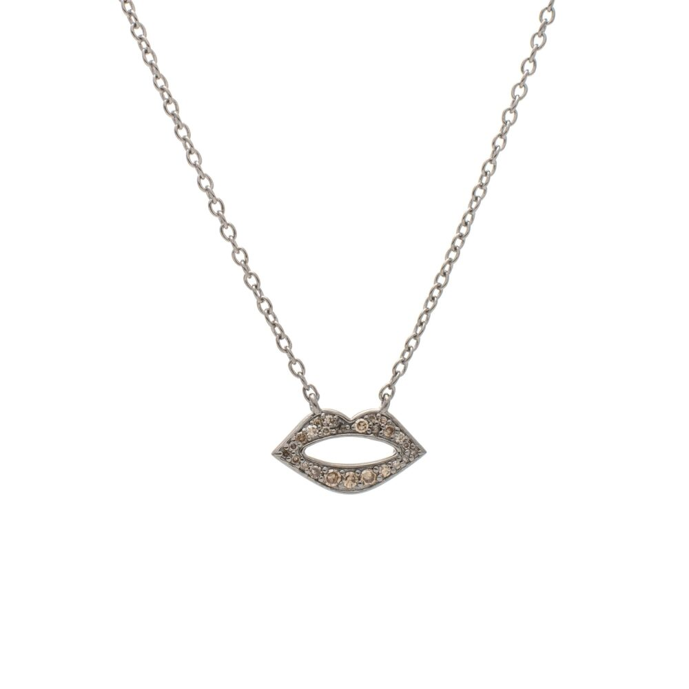 Diamond Mini Lip Necklace Sterling Silver