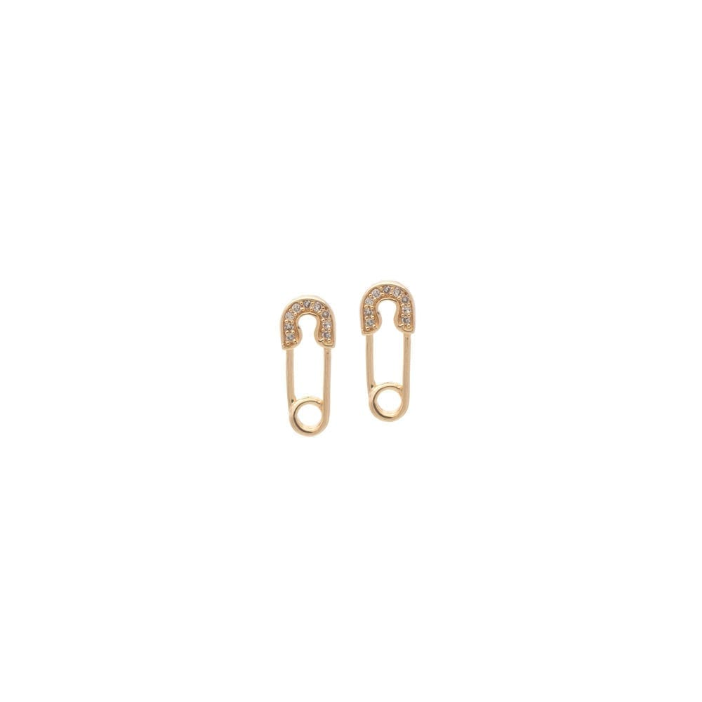 Diamond Mini Safety Pin Earrings Yellow Gold