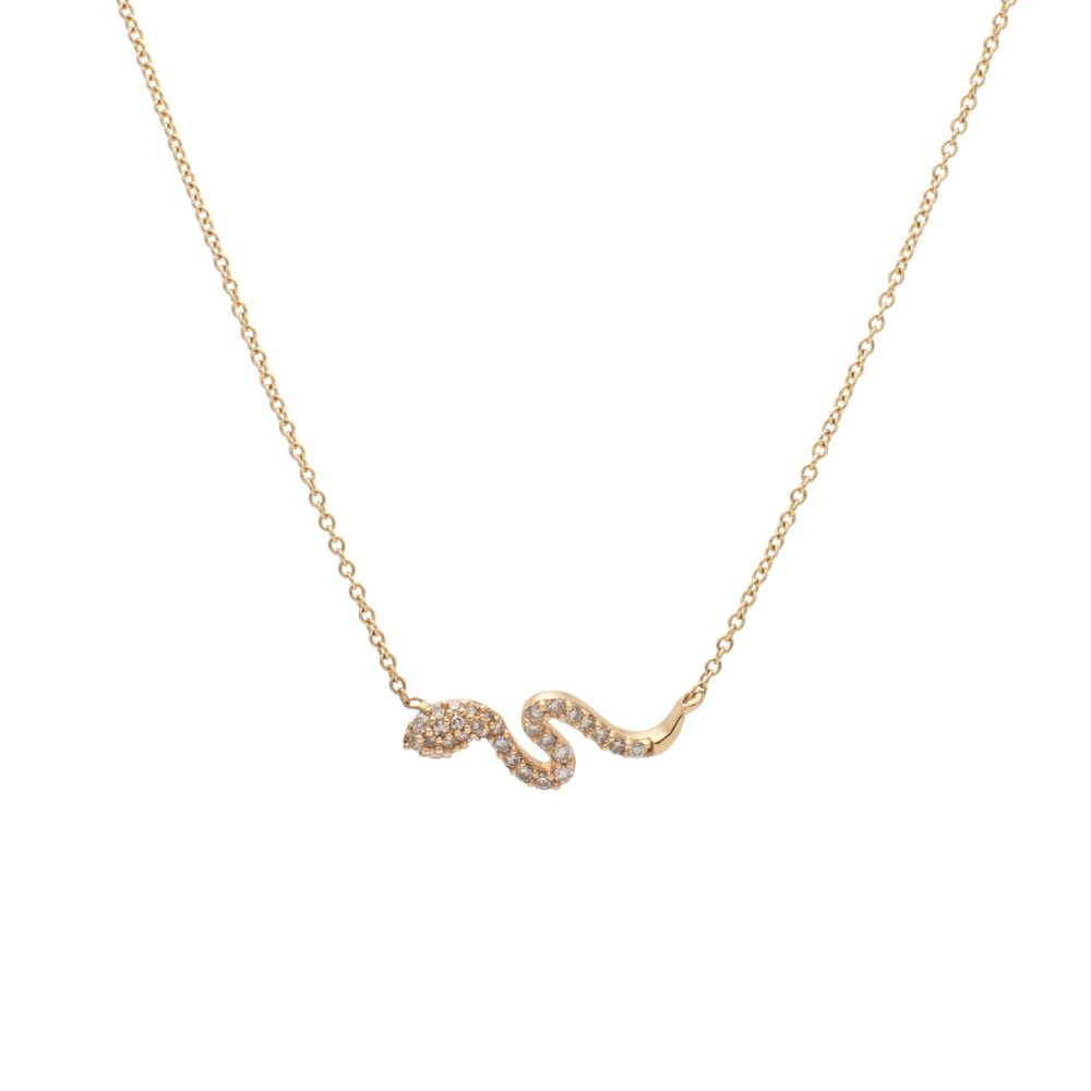 Diamond Mini Serpentine Necklace Yellow Gold