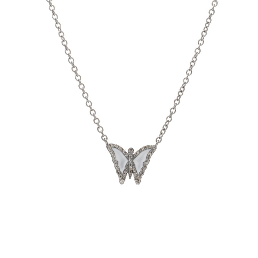 Diamond Mini White Enamel Butterfly Necklace Sterling Silver