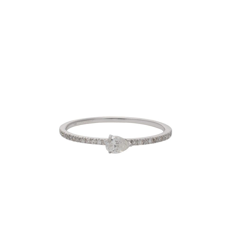 Diamond + Pear Horizontal Stacking Band White Gold